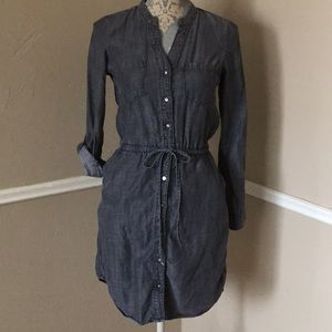 Denim Pockets Long Sleeve Button Down Waist Tie